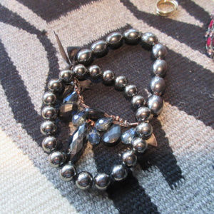 Pair of Black Pearl Bracelets Beads Chains